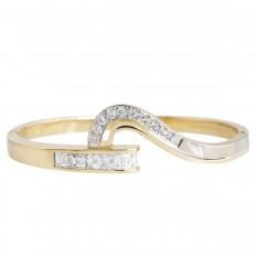 Vintage 0.77 CTW Diamond Hinged Bangle Bracelet