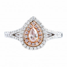 New 0.54 CTW Double Halo Diamond Engagement Ring