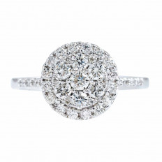 New 0.74 CTW Diamond Cluster Halo Engagement Ring