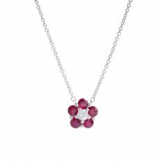 New 1.08 CTW Ruby & Diamond Flower Necklace