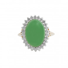 Vintage 5.11 CTW Jadeite & Diamond Halo Ring