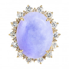 Vintage 18.95 CTW Lavender Jadeite & Diamond Halo Ring