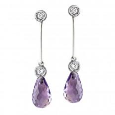 Vintage 0.04 CTW Amethyst & Diamond Drop Earrings