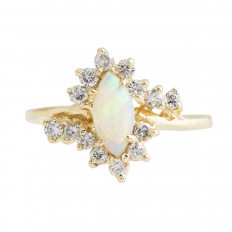 Vintage 0.43 CTW Opal & Diamond Ring