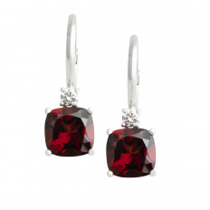 Vintage 4.96 CTW Garnet & Diamond Earrings