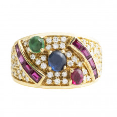 Vintage 1.40 CTW Diamond, Ruby, Emerald & Blue Sapphire Ring
