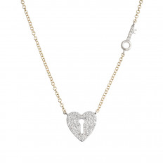 New Venetti 0.15 CTW Diamond Heart Lock & Key Necklace