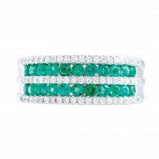 New 1.02 CTW Emerald & Diamond Band