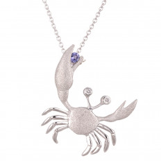New Denny Wong 0.08 CTW Diamond & Tanzanite Crab Necklace