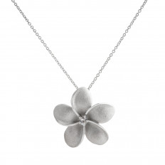 New Denny Wong 0.15 CTW White Sapphire Plumeria Necklace