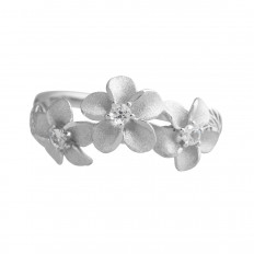 New Denny Wong 0.15 CTW White Sapphire Plumeria Ring
