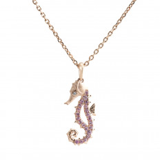 New Denny Wong 0.22 CTW Pink Sapphire Sea Horse Necklace