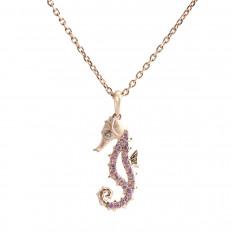 New Denny Wong 0.22 CTW Pink Sapphire Sea Horse Pendant