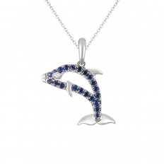 New Denny Wong 0.23 CTW Blue Sapphire Dolphin Necklace