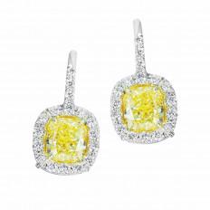 Vintage 3.50 CTW Fancy Yellow & White Diamond Halo Drop Earrings