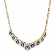 New 28.90 CTW Diamond & Blue Sapphire Halo Necklace