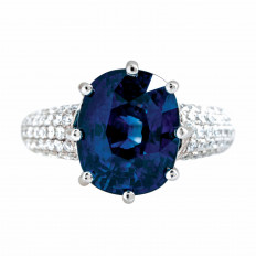 New 9.75 CTW Royal Blue Sapphire & Diamond Ring