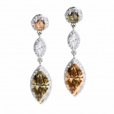 New 8.95 CTW Multicolored Diamond Halo Drop Earrings