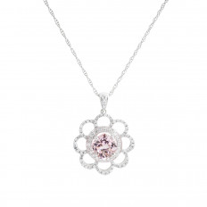 Vintage 2.57 CTW Morganite & Diamond Flower Pendant