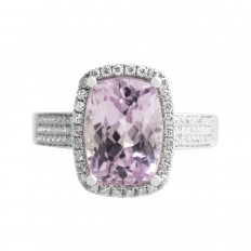 Vintage 6.90 CTW Kunzite & Diamond Halo Ring