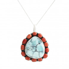 Vintage Native American Turquoise & Coral Pendant