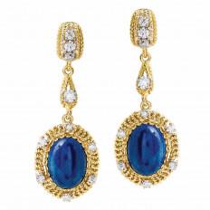 Vintage 1.28 CTW Diamond & Lapis Drop Earrings