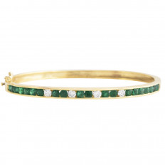 Vintage 2.40 CTW Diamond & Emerald Bangle Bracelet