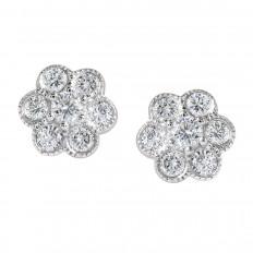 Vintage 0.60 CTW Diamond Cluster Flower Stud Earrings