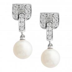 Vintage Tiffany & Co. 0.36 CTW Diamond & Pearl Drop Earrings