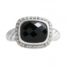 Vintage David Yurman 0.19 CTW Diamond & Onyx Halo Ring