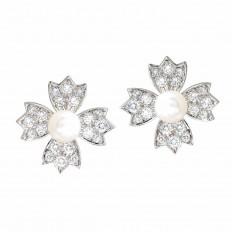 Vintage Tiffany & Co. 0.80 CTW Diamond & Pearl Floral Stud Earrings