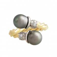 Vintage 0.10 CTW Diamond & Tahitian Pearl Crossover Ring