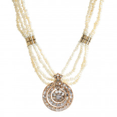 Antique 2.50 CTW Diamond & Pearl Necklace