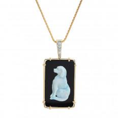 Vintage 0.09 CTW Diamond, Opal & Onyx Dog Pendant