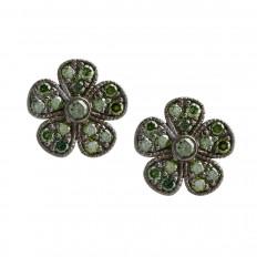 Vintage Colette Steckel 0.32 CTW Tsavorite Garnet Floral Stud Earrings