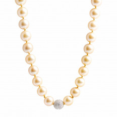Vintage 0.48 CTW Diamond & Golden South Sea Pearl Necklace