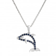 New Denny Wong 0.23 CTW Sapphire Dolphin Pendant