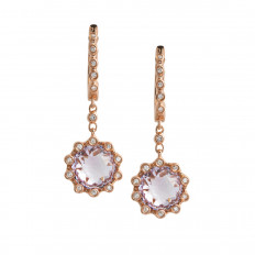 Vintage 3.16 CTW Diamond & Rose Quartz Drop Earrings