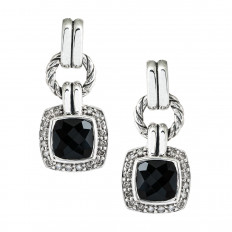 Vintage David Yurman 0.30 CTW Diamond & Onyx Renaissance Drop Earrings