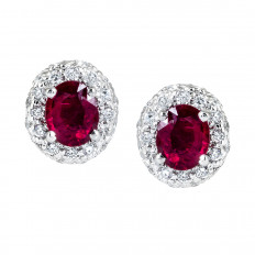 Vintage 1.50 CTW Ruby & Diamond Halo Stud Earrings
