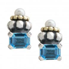 Vintage Lagos Blue Topaz & Pearl Caviar Earrings