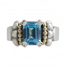 Vintage Lagos Blue Topaz Caviar Ring