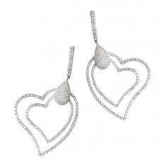 Vintage 1.60 CTW Diamond Double Heart Dangle Earrings
