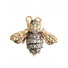 Vintage 0.25 CTW Diamond & Sapphire Bee Brooch
