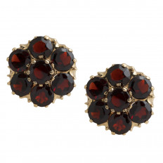 Vintage 6.16 CTW Garnet Flower Earrings