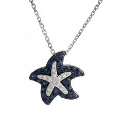 Vintage Effy 0.35 CTW Diamond & Sapphire Starfish Pendant