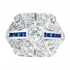 Vintage 0.93 CTW Diamond & Blue Sapphire Ring
