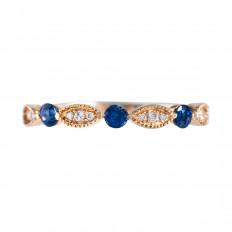 New Venetti 0.38 CTW Blue Sapphire & Diamond Band