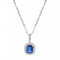 New Venetti 0.72 CTW Blue Sapphire & Diamond Halo Pendant