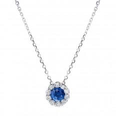 New Venetti 0.36 CTW Blue Sapphire & Diamond Halo Pendant